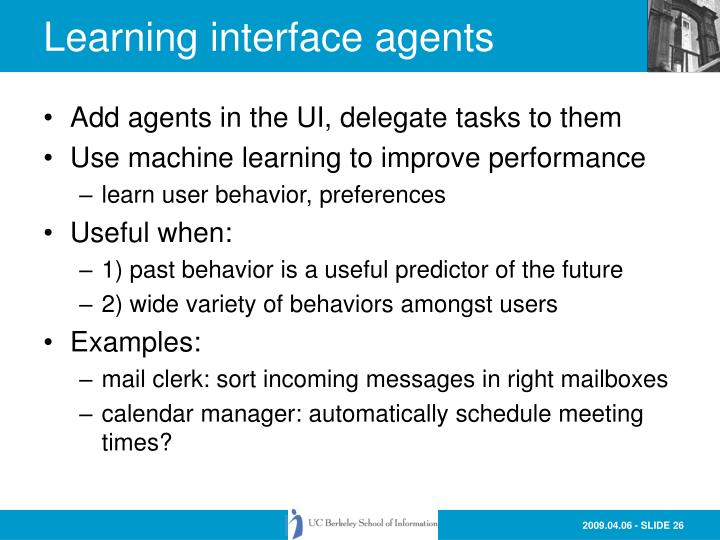 Learning interface agents