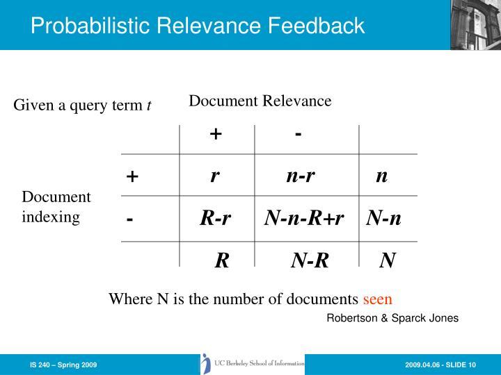 Probabilistic Relevance Feedback