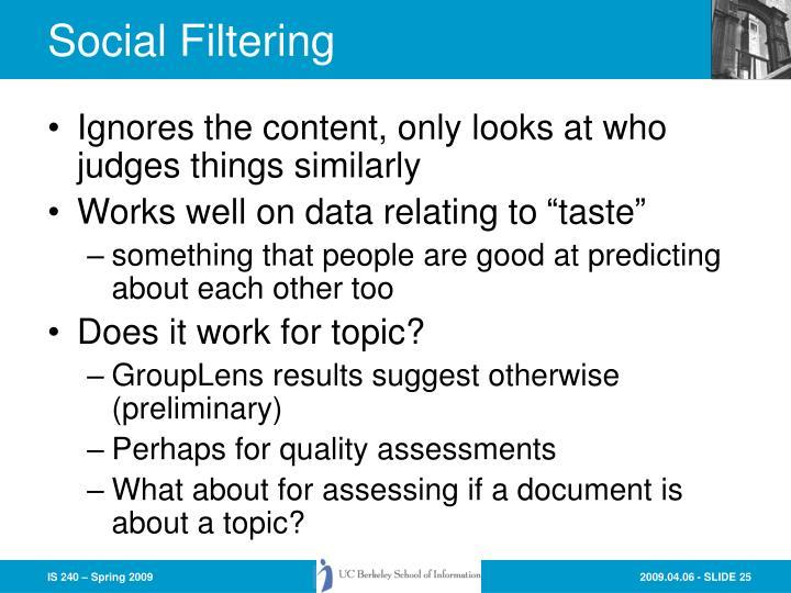 Social Filtering