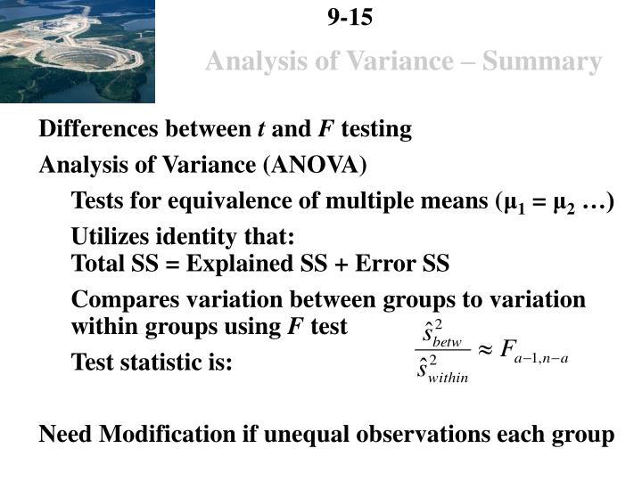 Analysis of Variance – Summary