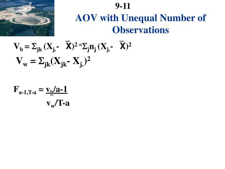 AOV with Unequal Number of Observations