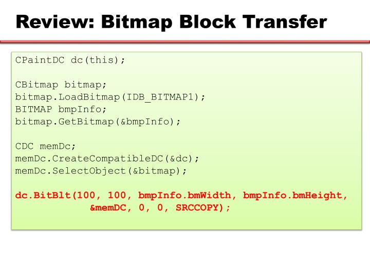 Review: Bitmap Block Transfer