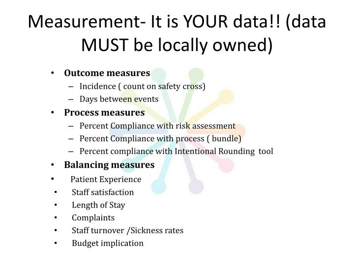 Measurement- It is YOUR data!! (data MUST be locally owned)