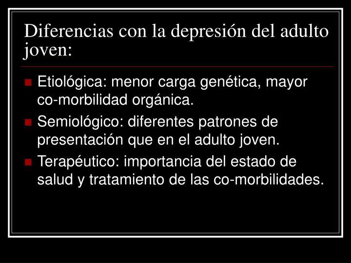Diferencias con la depresión del adulto joven: