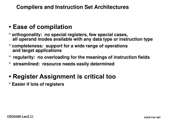 Compilers and Instruction Set Architectures