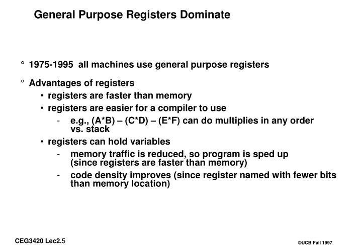 General Purpose Registers Dominate