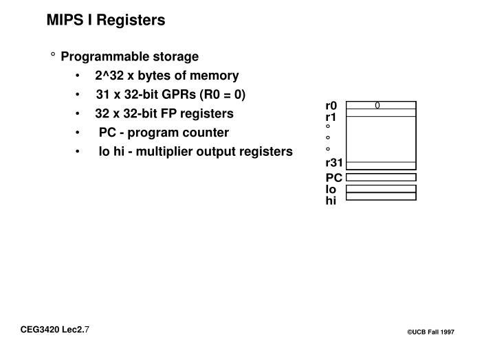 MIPS I Registers