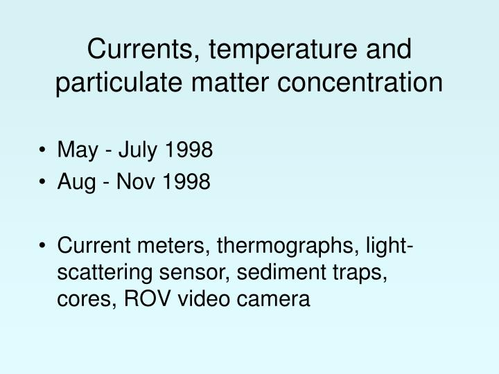 Currents, temperature and particulate matter concentration