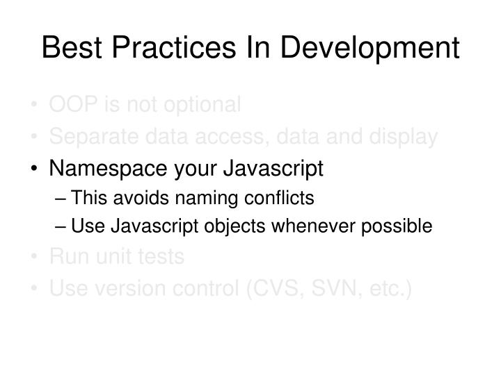 Best Practices In Development