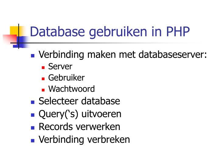 Database gebruiken in PHP