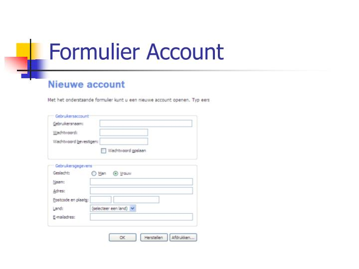 Formulier Account
