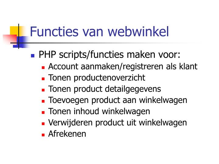 Functies van webwinkel