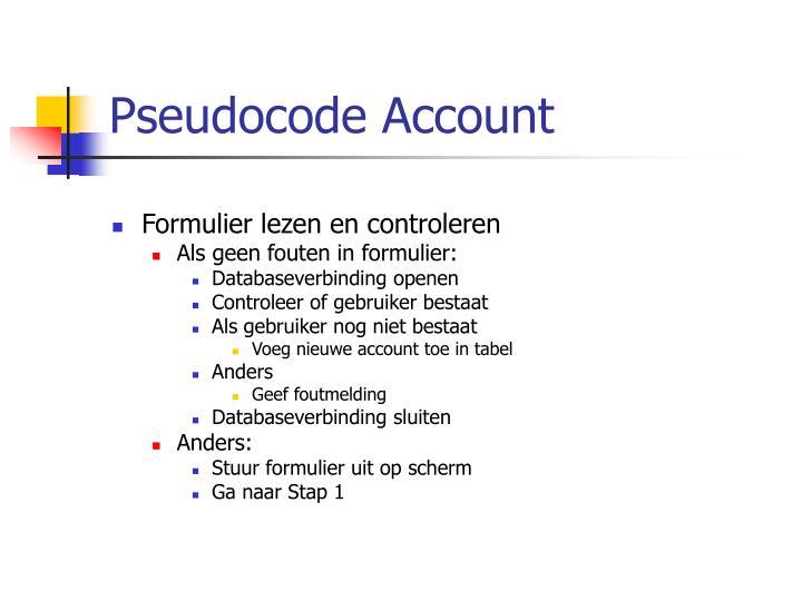 Pseudocode Account