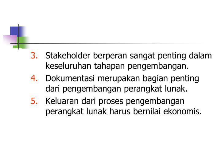 Stakeholder berperan sangat penting dalam keseluruhan tahapan pengembangan.