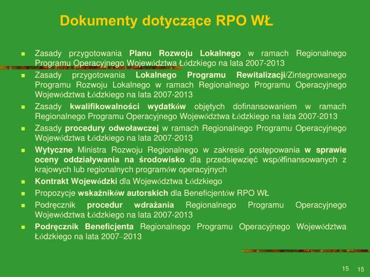 Dokumenty dotyczące RPO WŁ