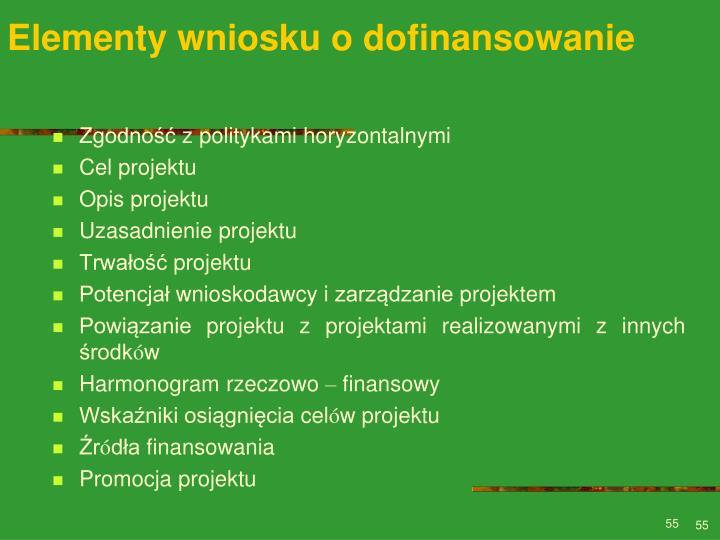 Elementy wniosku o dofinansowanie