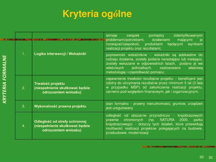 Kryteria og