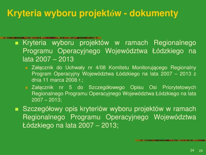 Kryteria wyboru projekt