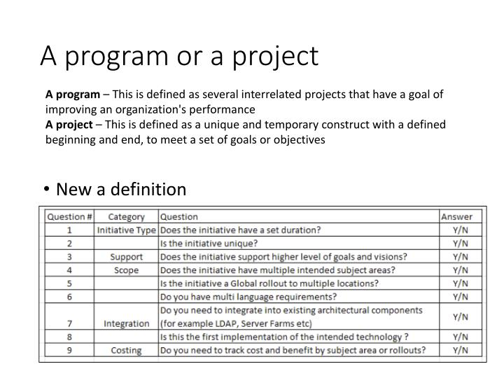 A program or a project