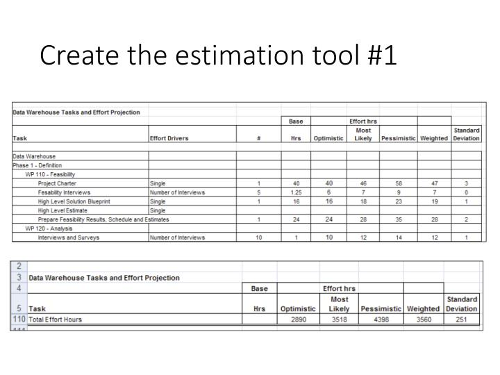 Create the estimation tool #1