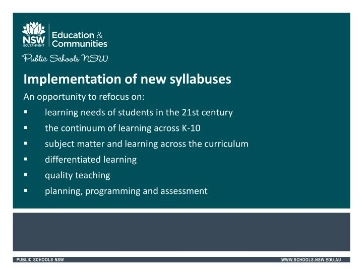 Implementation of new syllabuses