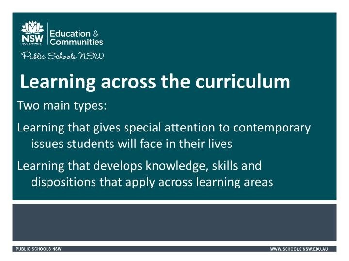 Learning across the curriculum
