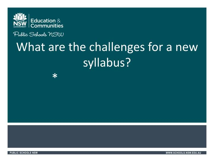 What are the challenges for a new syllabus?