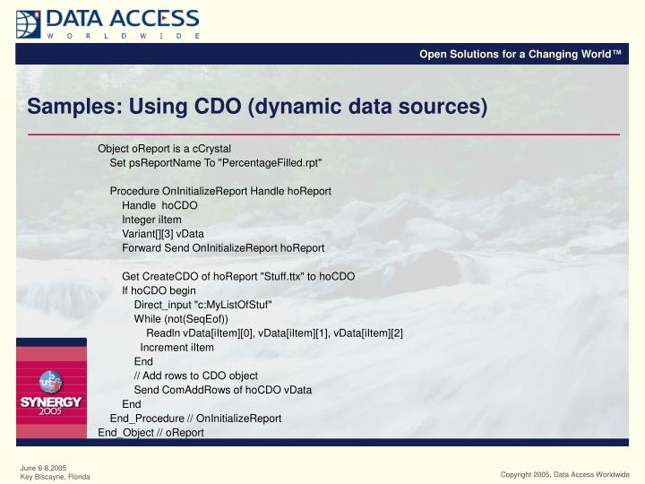 Samples: Using CDO (dynamic data sources)