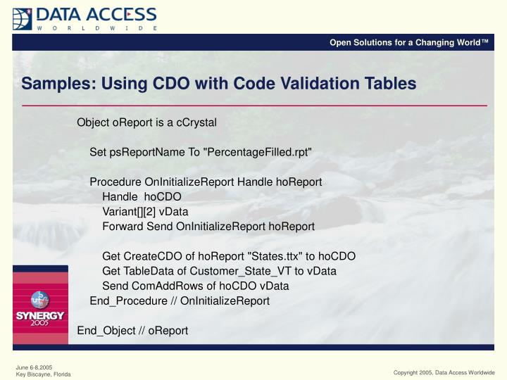 Samples: Using CDO with Code Validation Tables
