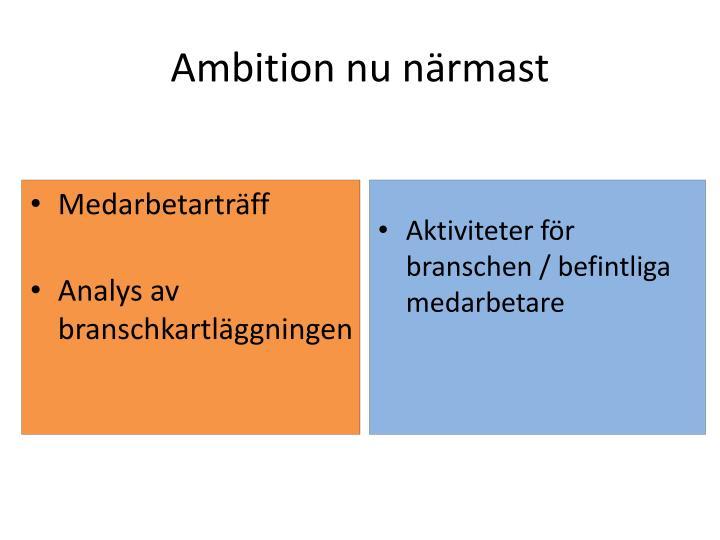 Ambition nu närmast