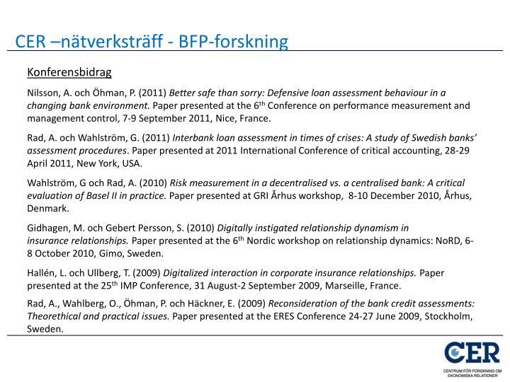 CER –nätverksträff - BFP-forskning