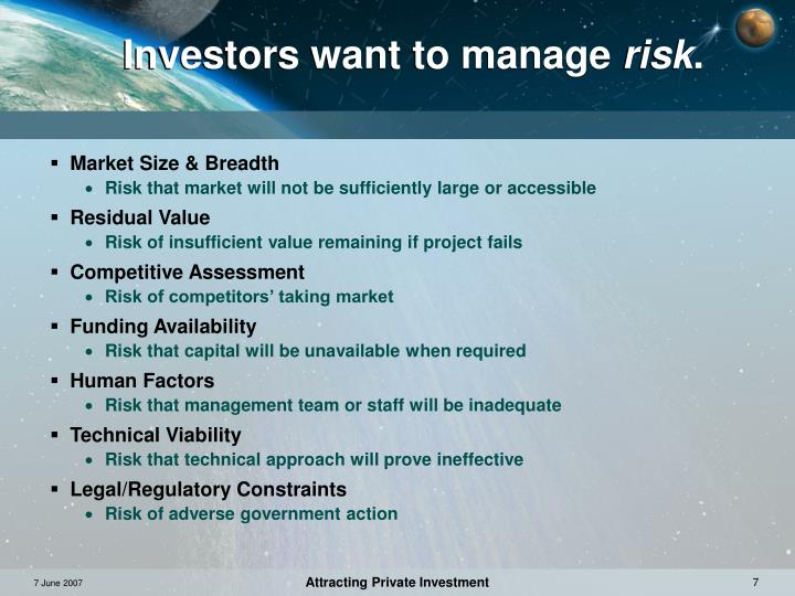 Investors want to manage