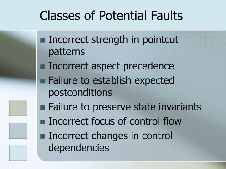 Classes of Potential Faults