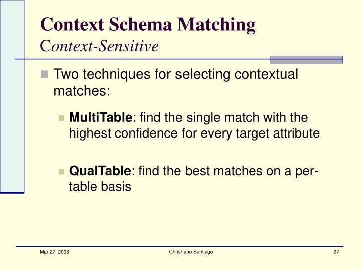 Context Schema Matching