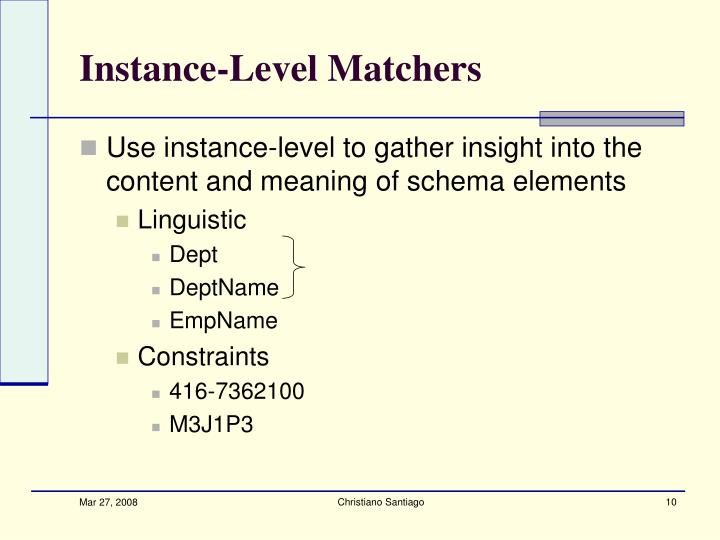Instance-Level Matchers