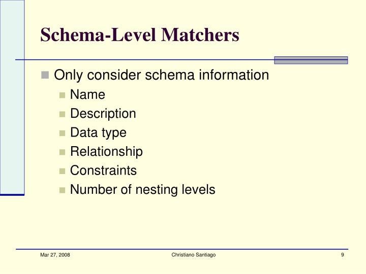 Schema-Level Matchers