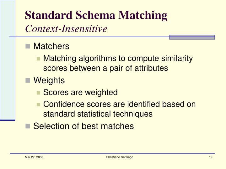 Standard Schema Matching