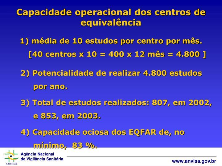 Capacidade operacional dos centros de equivalência