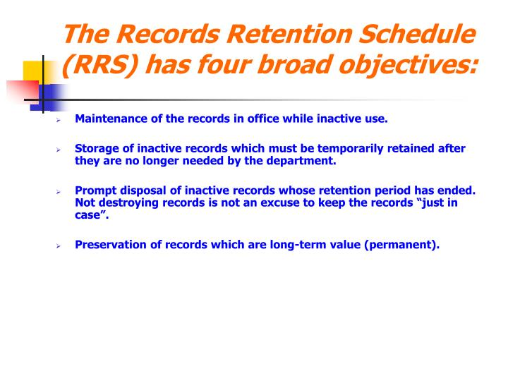 how to develop records retention schedule