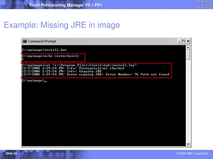 Example: Missing JRE in image