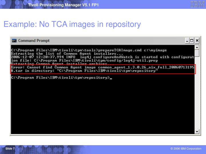 Example: No TCA images in repository