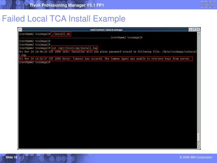 Failed Local TCA Install Example