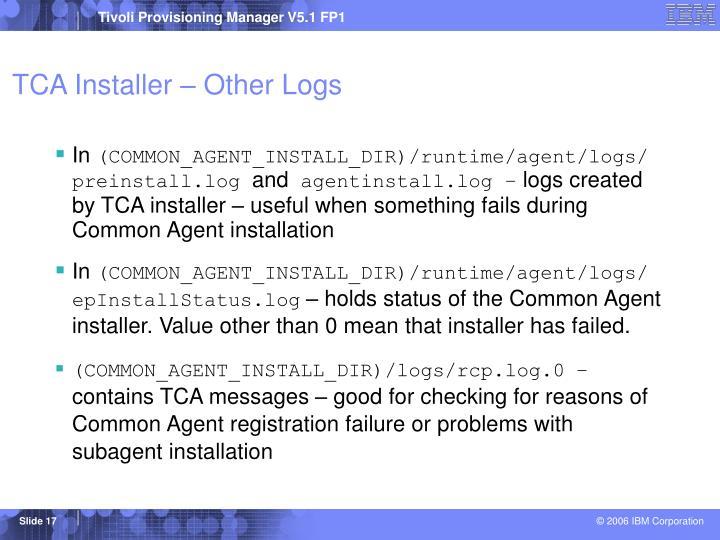 TCA Installer – Other Logs