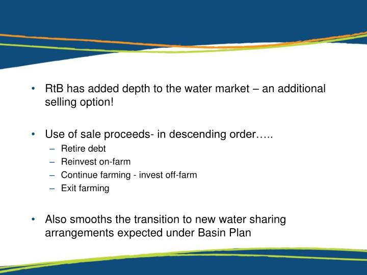 RtB has added depth to the water market – an additional selling option!