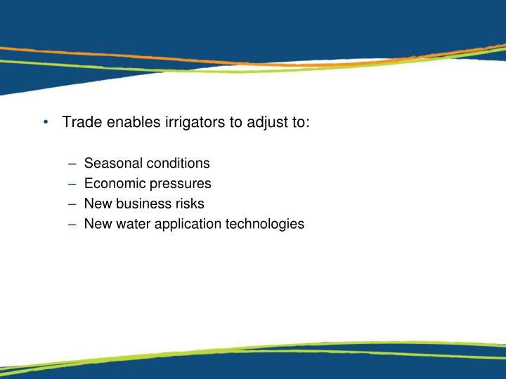 Trade enables irrigators to adjust to: