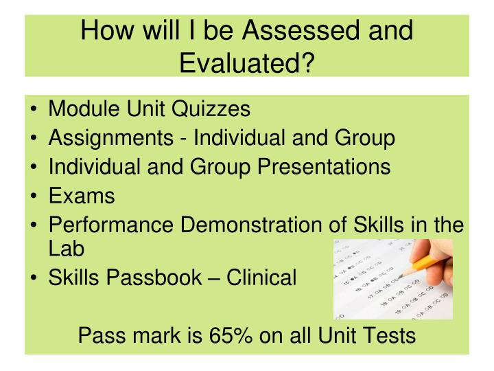 How will I be Assessed and Evaluated?