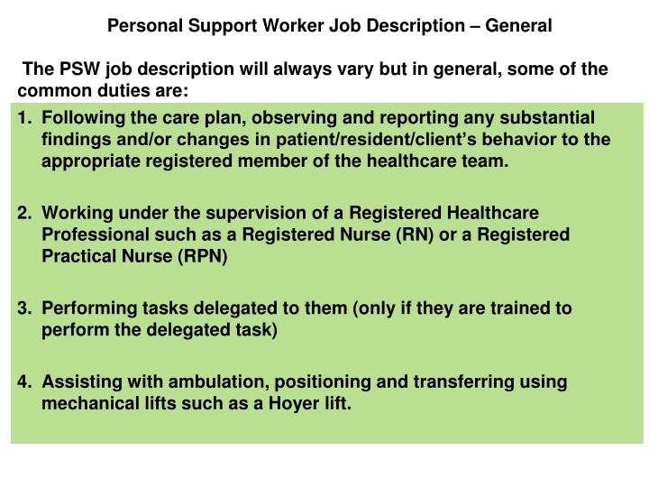 Personal Support Worker Job Description – General