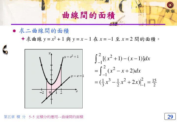 曲線間的面積