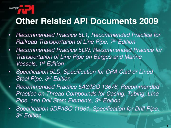 Other Related API Documents 2009