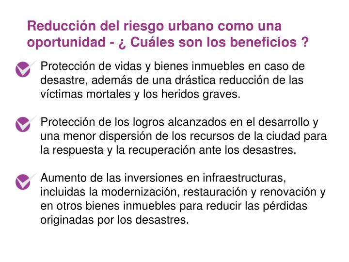 Reducción del riesgo urbano como una